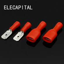 6.3mm Red Female with Male Spade Insulated Electrical Crimp Terminal Connectors H1E1