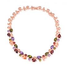Marca de moda Mona Lisa CZ Collar Llamativo Multicolor Ronda de Oro Rosa de Color de Cristal Del Partido/Boda de La Joyería Para Las Mujeres