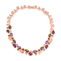 Hot Mona Lisa CZ Diamond Chain Necklaces Multicolor Round Rose Gold Plated Fashion Brand Crystal Party
