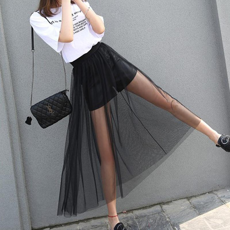 Tulle Skirt Transparent Single-layer Long Transparent Pleated Mesh Skirt Women Perspective Perspective Mesh Skirt