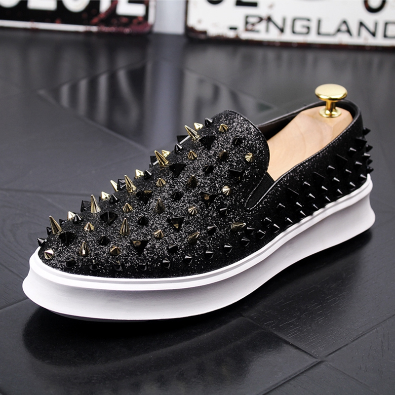 Stephoes Men Fashion Casual Shoes Spring Autumn Rivets Punk Style Loafers Male Hip Hop Breathable Trending Smoking Slippers