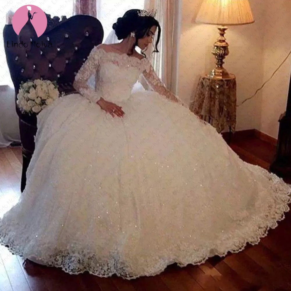 Plus Size Vestido De Noiva Princess Bridal Gowns Elegant Boat Neck Dubai White Ball Gown Lace Long Sleeves Wedding Dresses 2019