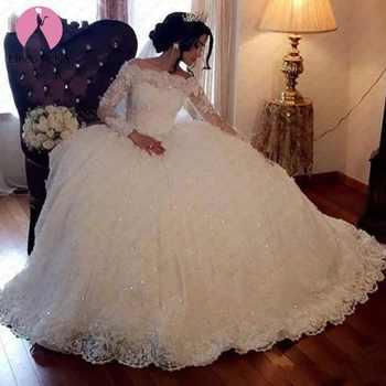 Plus Size Vestido De Noiva Princess Bridal Gowns Elegant Boat Neck Dubai White Ball Gown Lace Long Sleeves Wedding Dresses 2019 - DISCOUNT ITEM  48% OFF All Category
