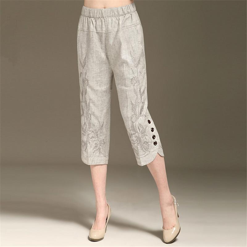 L 6Xl Womens Summer Linen Capris Pants New Fashion Embroidered Capris High End Elegance Plus -9568