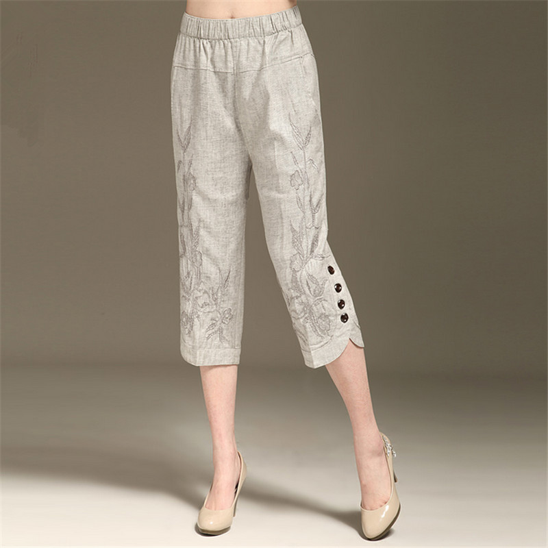 L - 6XL Women's Summer Linen   Capris     Pants   New Fashion Embroidered   Capris   High-end Elegance Plus Size   Pants   Women