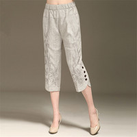 L 6XL Women's Summer Linen Capris Pants New Fashion Embroidered Capris High end Elegance Plus Size Pants Women