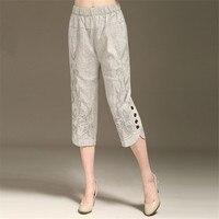 L 6XL Women's Summer Linen Capris Pants New Fashion Embroidered Capris High end Elegance Plus Size Pants Women