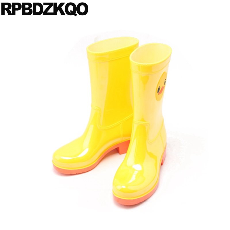 Yellow Cartoon Candy Rain Boots Autumn Cheap Round Toe Mid Calf Slip On Flat Shoes Waterproof Ladies Chinese Fashion New Short double buckle cross straps mid calf boots