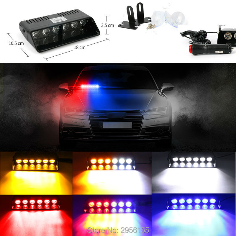 Emergency Vehicle Sucker Warning Light Strobe Flash 6 LED Light Firemen Fog High Power 18W Red Blue interior for Car Automobile 6000lumens bike bicycle light cree xml t6 led flashlight torch mount holder warning rear flash light
