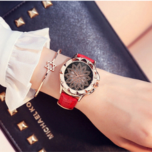 women's bracelet Luxury Brand Rose Gold Ladies Casual Watch Crystal Dress Leather Watch Quartz Watch Woman Clock Reloj Mujer