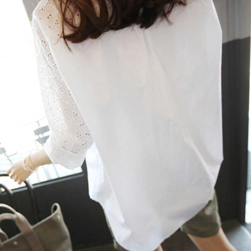 オフィスホワイトレディーストップスとブラウスチュニックプラスサイズ 4xl 5xl 女性のブラウスワークシャツ中空アウト 9/10 スリーブ blusas Femininas