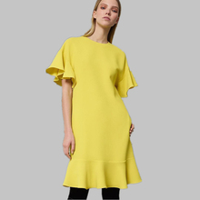 Short Flare Sleeve O-Neck The side of the lotus leaf Solid Bud Fashion Dress Yellow Casual Slim Chiffon Women wear 1836