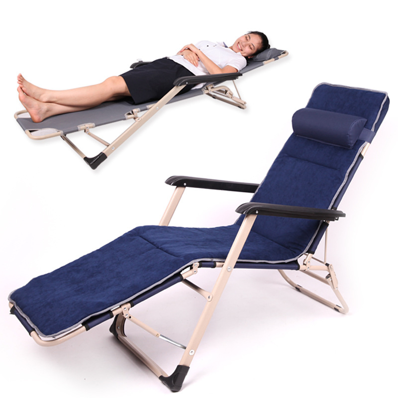 Super Soft Afternoon Rest Sun Lounger Portable Folding Office Noon Break Leisure Bed Long Bench Balcony Beach Chair