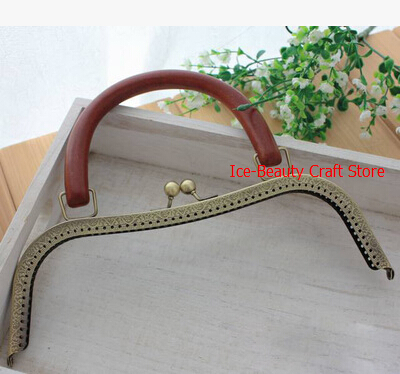 5pcs 26cm High Quality Antique Brass Wooden Handle Handbag Frame Engraved Bag Frame Bag Sewing Craft Tailor Sewer,Freeshipping