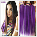 1PC 16inch Straight synthetic hair clip in hair extension red blue pink purple solid color hair cosplay