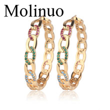 Molinuo 42-45mm Popular hoop Earrings With CZ link chain desgin Circle Earrings GOLD color fashion Big Circle Earrings For Women цена