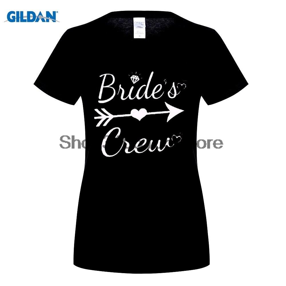 GILDAN Équipage de Mariée W/Coeur de Femmes T-Shirt De Mariage Mariage Bachelor Party Shirts Femme Naturel Courtes En Coton T chemise