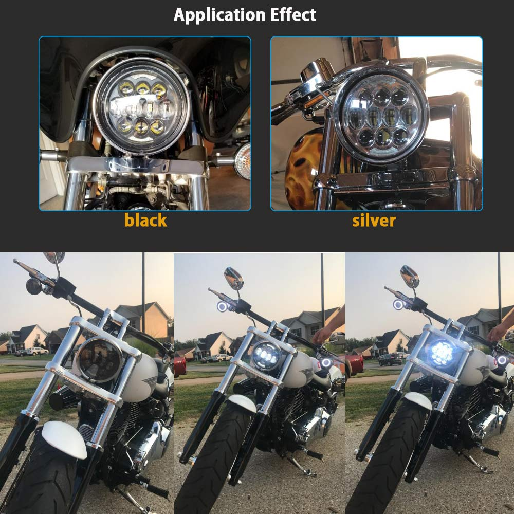 2018 New Brightest DOT Approved 80W with DRL 5 3 4 quot 5 75 quot Round LED Projection Headlight for Motorcycles Black Silver
