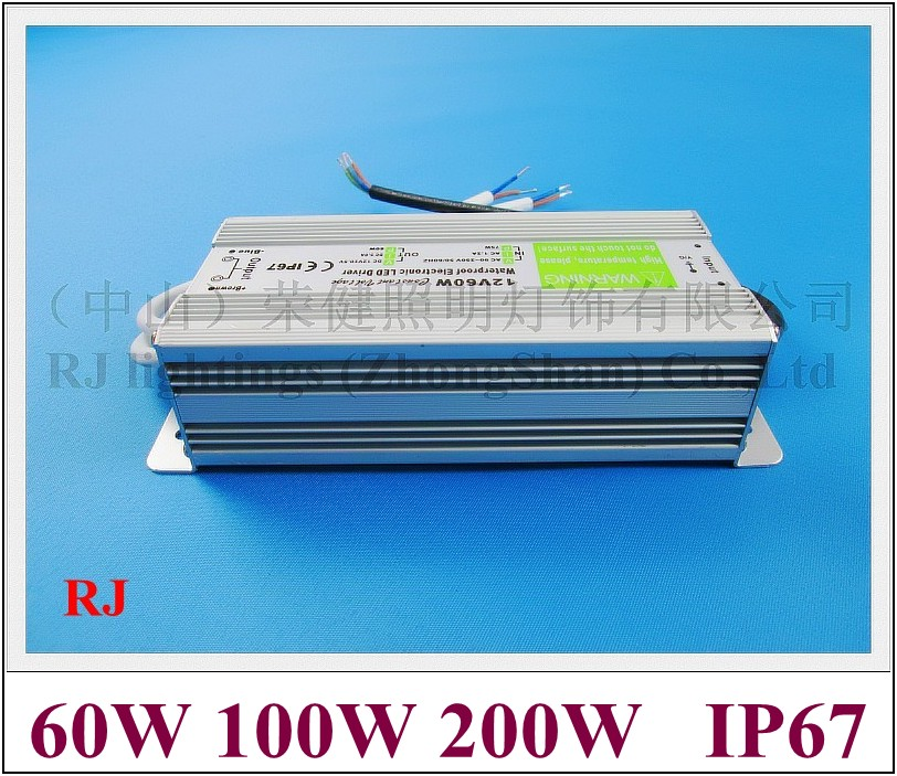 IP67 waterproof LED transformer LED driver power supply for LED strips LED modules etc 200W input 85-265VAC output 12VDC 16A 90w led driver dc40v 2 7a high power led driver for flood light street light ip65 constant current drive power supply