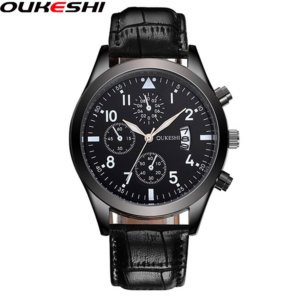 2017 OUKESHI Fashion Watch With Calendar Top Brand Luxury Leather Men Business Quartz Watch Relogio Masculino OKS48 skone fashion business quartz men watch 2017 high quality calendar relogio masculino new shelves vogue brand men watch
