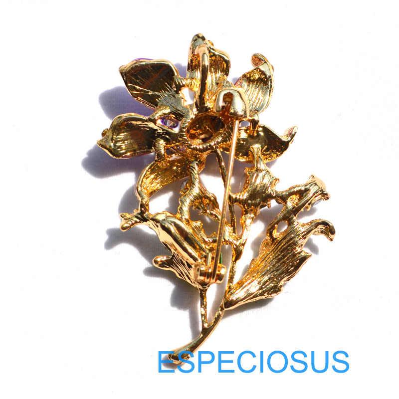 Elegante Spille Delle Donne di Colore Oro Regali di Colore Viola Del Fiore Del Rhinestone Del Seno Spille Accessori Dei Monili in Metallo Verniciato Spilla Indumenti