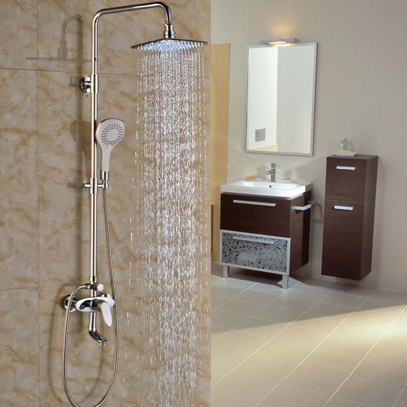 8 Brass LED Light Shower Head Bathroom Shower Faucet with ABS ...
