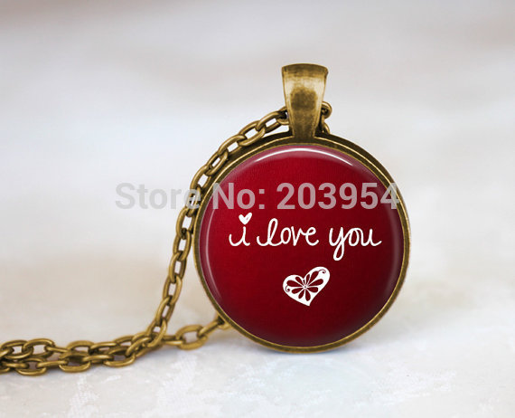 New Steampunk movie red i love you Necklace 1pcs/lot bronze or silver Glass Pendant jewelry chain 2016 mens vintage round glass image