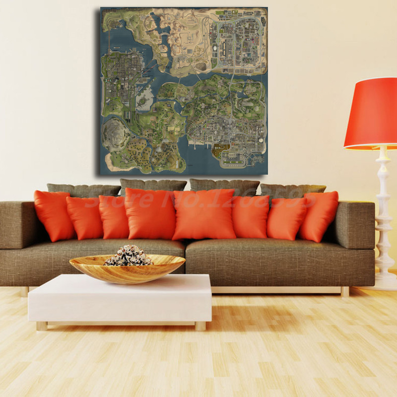 Gta 5 San Andreas Map Wall Art Canvas Posters Prints Painting Pictures  Modern Living Room Home Artwork