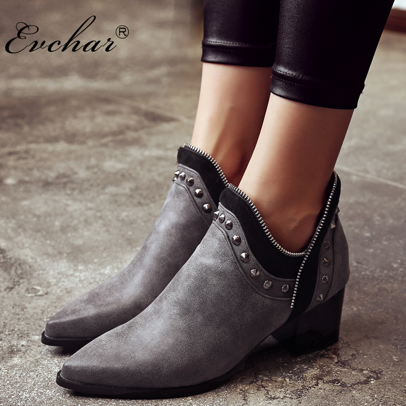 EVCHAR autumn winter fashion PU leather ankle boots med heels pointed toe solid riding shoes boots woman plus size 32-43 size 34 43 2016 fashion women s ankle boots black motorcycle pu leather boots solid pointed toe martin boots autumn shoes