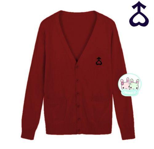 Милая женская японская Униформа-матроска, символ Луны, свитер на пуговицах, кардиган с длинными рукавами, зимний толстый - Цвет: Wine Red