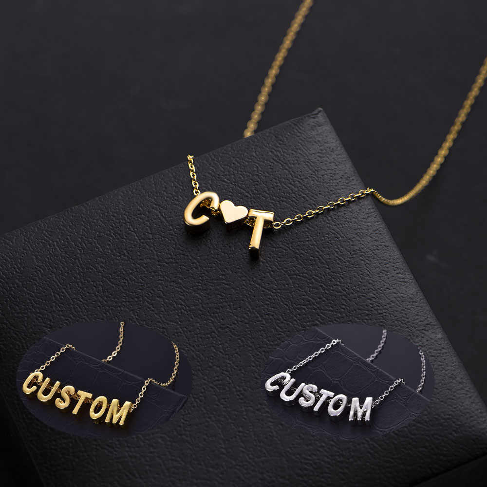 Unique Gold Silver Color Initial Heart Letters Custom Charm Pendant For Women Girls Female Simple DIY Name Necklace  Lovers Gift