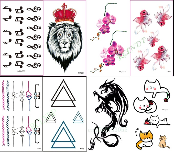 Waterproof Temporary Tattoo Sticker Music Note Lion Fish