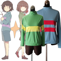 Undertale Frisk Chara Cosplay Costume Pullover Tops Shirt Suit Set Game Unisex