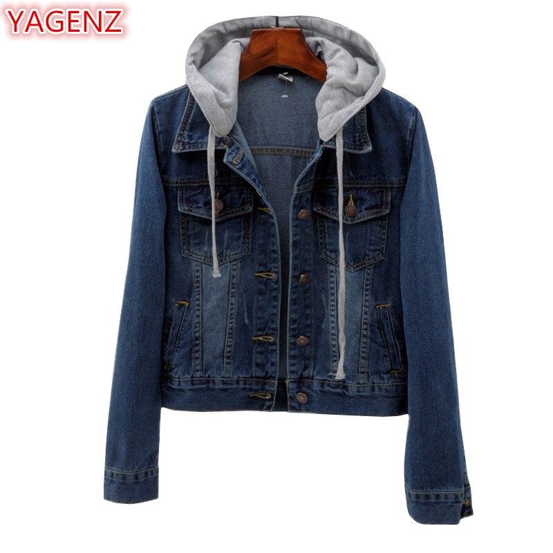 YAGENZ Jeans veste femmes printemps automne manteau femmes dames Harajuku Denim veste de mode dames vestes court manteau Top Femme 1039