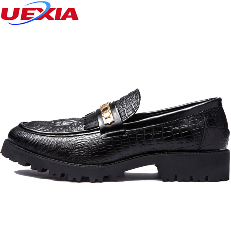 Oxford Business Black Dress Shoes Men's Chain Crocodile Pattern Party Casual Pointed Toe Patent Leather Wedding Formal Shoes Men new arrival men s oxford shoes italian design embossed leather pointed toe stone pattern decoration business men dress shoes