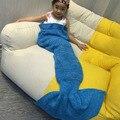 135*42CM Yarn Knitted Mermaid Blanket Super Soft Sleeping Bed Wrap Handmade Crochet Mermaid Tail Portable Blanket For Children