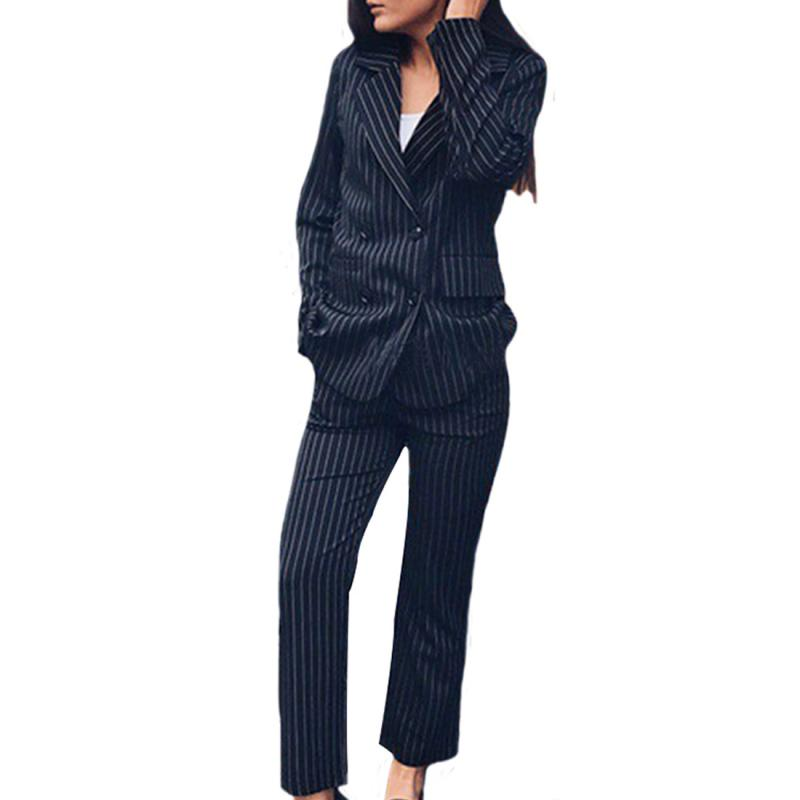Red OL Office Wear 2 Piece Suit Double Breasted Striped Blazer Jacket Zipper Trousers Suit Women Outfits Feminino Pant Suits