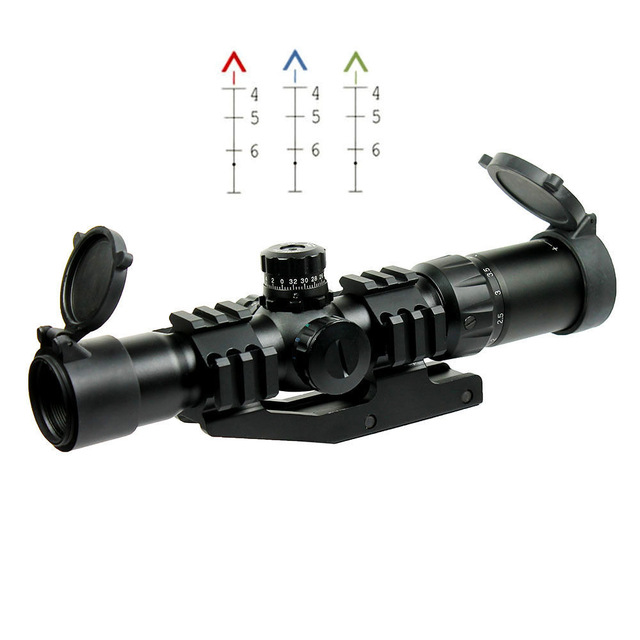 1.5-4X30 Red Green Illuminated Tactical Railed Rifle Scope w/ Tri-Illuminated Chevron Recticle for Hunting Airsoft Riflescope hot sale tactical sniper 1 25 4x30 red green illuminated rifle scope for hunting bwr 074