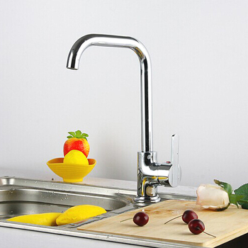 L15007 - Luxury Deck Mounted Chrome Finish Brass Material Hot & Cold Water Kitchen Mixer
