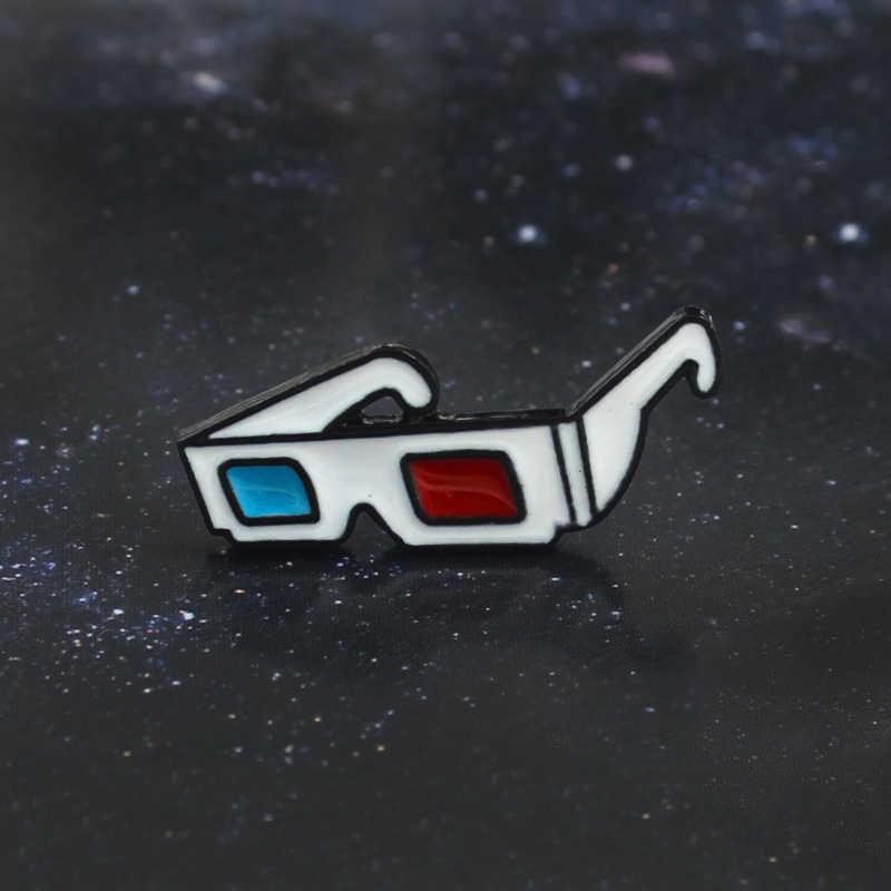 Retro 3D Kacamata Bros Merah Biru Lensa Semuanya Terlihat Lebih Baik Keras Enamel Pin Bahan Kulit Lencana Aksesoris Anak Kepribadian Hadiah