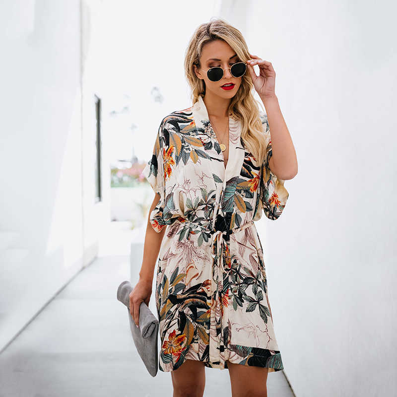 Повседневное женское платье с цветочным принтом летнее плявечерние праздничное короткое платье с коротким рукавом с v-образным вырезом мини бохо платье женское сексуальное Vestido