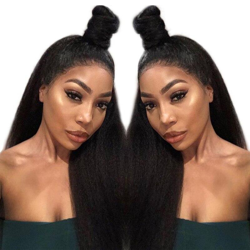Kinky Straight 13X6 Deep Part Full Lace Front Human Hair Wigs Pre Plucked Virgin VENVEE