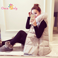 S - 5XL 2017 Winter Coat Women Sleeveless Long Down Vest Thick Winter Jacket Women V-neck Ladies Cotton Fur Collar Down Jacket