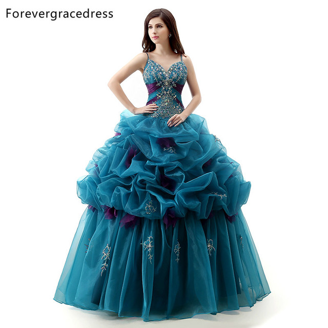 b61d7e27770 Forevergracedress Real Photo Ruffles Quinceanera Dress New V Neck Beaded  Organza Long With Lace Up Formal Party Gown Plus Size