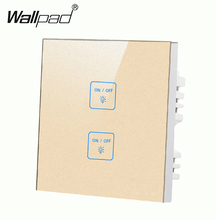 2 gangs 1 way Gold,DIY touch light wall switch,Customize words,RFFOX 12V micro switch,Compatiable with any lamps,Free Shipping new arrival 2 gangs 1 way crystal glass led black diy touch light wall switch touch switch free customize words free shipping