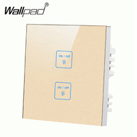 Luxury 2 gangs 1 way Gold touch wall light switch,Free Customize buttons LED Indicator Smart touch Lamp switch,Free Shipping