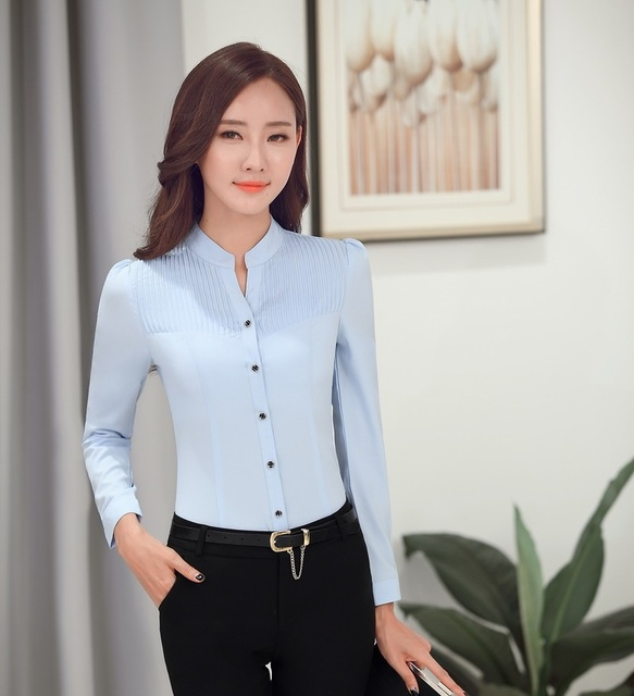 cae9a81ecf7 New 2015 Spring Fall Fashion Women Blouses   Shirts Light blue Long Sleeve  Slim Formal Office Ladies Work Blouses OL Styles