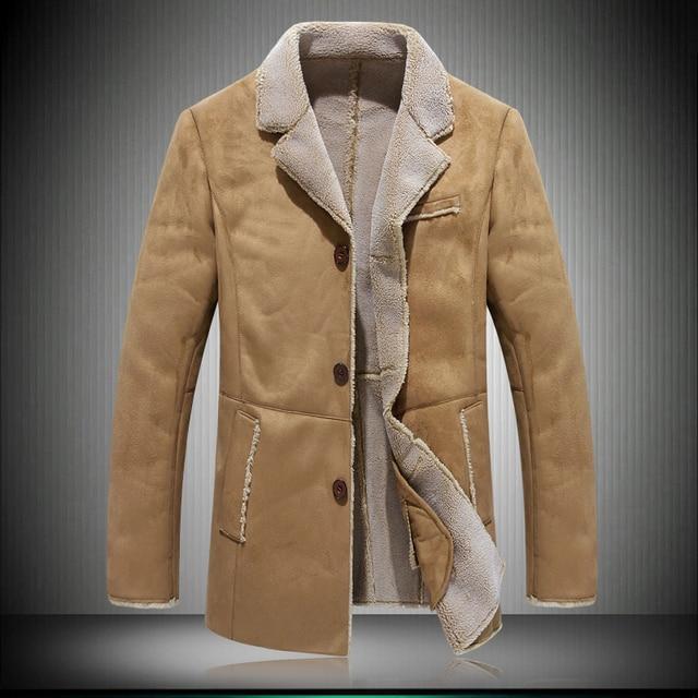 NEW Winter Leather Jackets For Men khaki Reverse skin ...