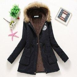 Płaszcz kobiety gruby płaszcz zimowy ciepłe z kapturem kieszenie Slim Faux futro Parka kurtka kobiet 3