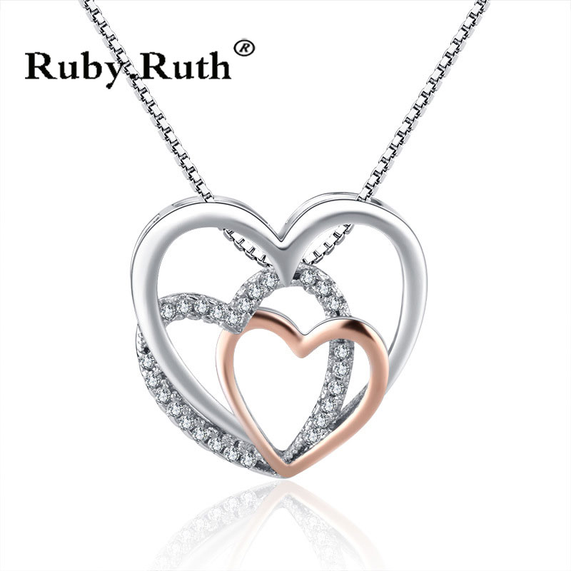 Heart Crystal Necklaces Statement Chain Necklace Woman valentines Gift